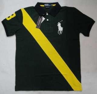 New Ralph Lauren Mens Big Pony Polo Shirt Sash Strip NO.3 Green