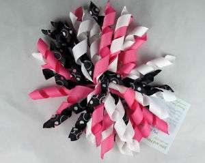 Hot PinkWhiteBlack Circles Korker Hair Bows