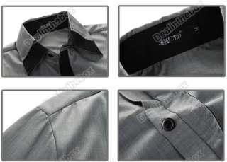 Hot Mens Casual False Tie Slim fit Stylish Long Sleeve Shirts Luxury