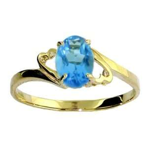 Genuine Oval Blue Topaz 14k Gold Promise Ring Jewelry