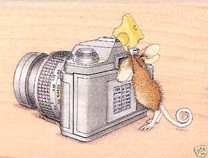 HOUSE MOUSE Wood Mounted Rubber Stamp Say Cheese Camera Stampabilities