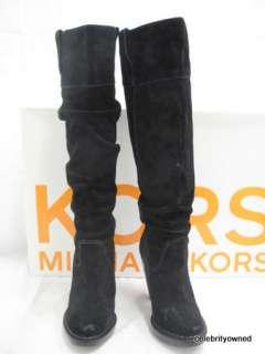 Michael Kors Black Suede Daria Wood Heels Boots 6 M
