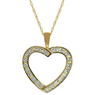 Beautiful 10K Solid Yellow Gold With CZ Open Heart Pendant With 18
