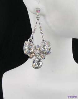 Crystal Bow Bows Bridal Pageant Chandelier Earrings