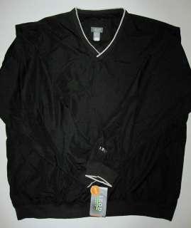 MENS IZOD GOLF V NECK PULLOVER WINDSHIRT JACKET BLACK M, L, XL, XXL