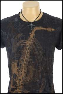 New Indie Rock Saxophone Black Non Iron T Shirt Sz S L