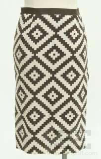 Tory Burch Brown & Beige Ikat Print Side Slit Pencil Skirt Size 2
