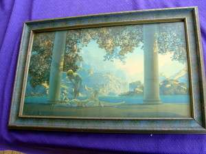 Maxfield Parrish DAY BREAK Art Deco PRINT BLUE FRAME