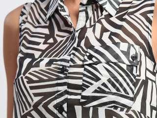 MOGAN Printed Sheer Chiffon Button Front TANK BLOUSE Sleeveless Shirts