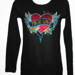 Tattoo Inspired Rhinestone Long Sleeve T Shirt Medium