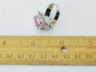 Enamel Body Silver Tone Crystal Rhinestone Ladybug Bug Ring