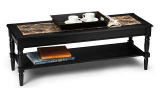 Country Black Wood Marble Style Coffee Table 095285409174