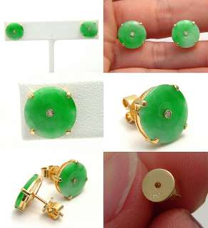 VINTAGE GREEN JADE JADEITE 18K SOLID GOLD COCKTAIL PIERCE COLLECTIBLE