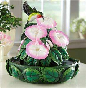 Lovely Hummingbird Floral Hand Painted Decorative Indoor Fountain New