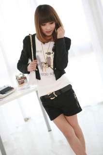 New Korean Women One Button Long Sleeve Bolero Shrug Jacket Coat Black