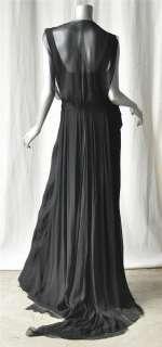 NINA RICCI Black SILK Long Dress Formal Gown NEW S