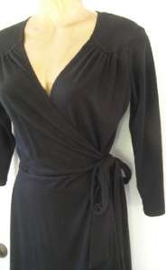 Love Ady Black Jersey Stretch Wrap Dress Flattering Cinched Fit Work
