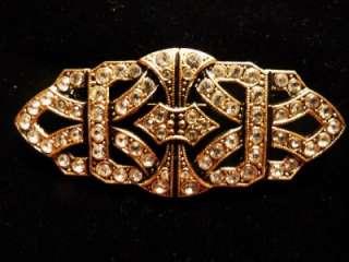 Art Deco Inspired Brooch Gold Silver Tone Dangling Heart JJ