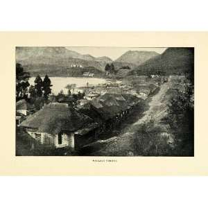 1900 Print Village Street Japan Japanese Mountains Lake