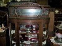 Glass China Cabinet w Dbl Lion Head Canopy Shelf Beveled Mirror