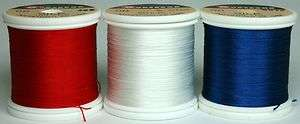Spools Gudebrod SILK Thread Rod Building Fly Tying Red, White & Blue