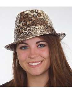ADULT WOMENS LEOPARD PRINT SHINY SEQUIN DANCE FEDORA COSTUME ACCESSORY