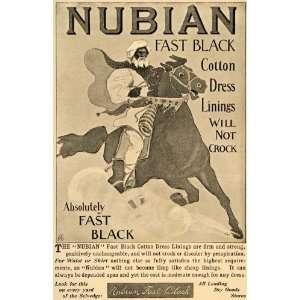 1896 Ad Nubian Cotton Dress Lining Arabian Horse Sudan