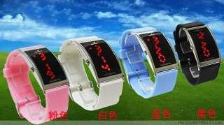 New Blue Strap RED LED Light Digital Wrist Watch Ladies Lady Man Women