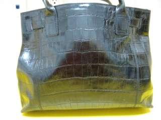 Kenneth Cole Black Leather Crocodile Embossed Purse