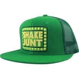 Shake Junt Box Logo Mesh Hat Adj [Green/Green]: Sports