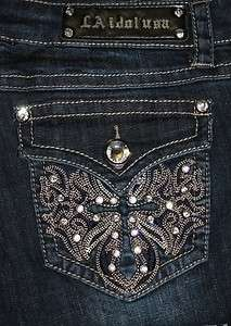 NWT WOMENS MISS LA IDOL BOOT CUT JEANS RHINESTONE CROSS FLAP POCKETS