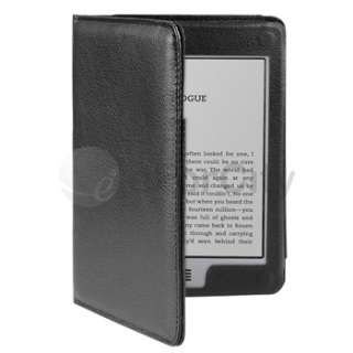 Black Plain Folio Leather Case Cover For  Kindle Touch