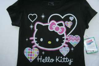 HELLO KITTY GIRLS BLACK GLITTER SHIRT MEDIUM 7 8 LARGE 10 12 NEW