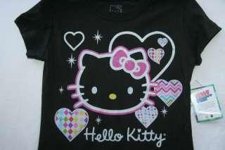 HELLO KITTY GIRLS BLACK GLITTER SHIRT MEDIUM 7 8 LARGE 10 12 NEW