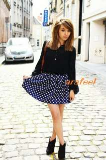 POLKA dot print mini skirt black navy white vintage 2 4