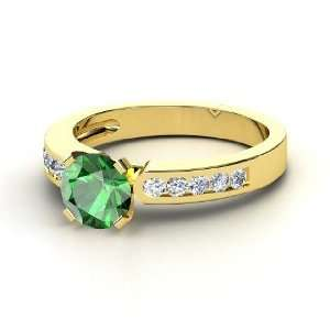 Kelsey Ring, Round Emerald 14K Yellow Gold Ring with