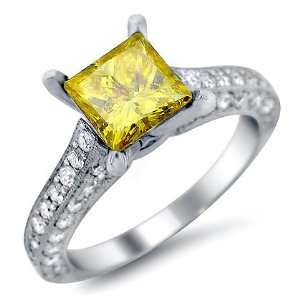 2.14ct Canary Yellow Princess Cut Diamond Engagement Ring