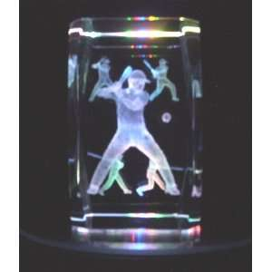 Laser Etched Crystal Baseball Players