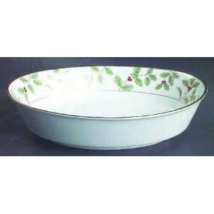Holly And Berry Gold Oval Vegetable Bowl, Fine China Dinnerware