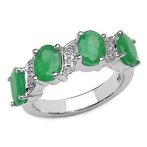 3.40 Carat Genuine Emerald Sterling Silver Ring Jewelry