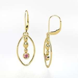 Earrings, 14K Yellow Gold Earrings with Pink Tourmaline Jewelry