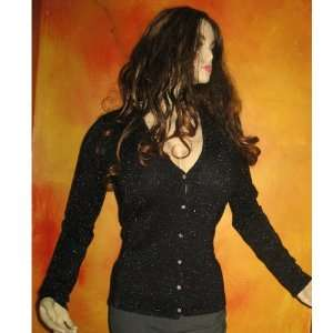 Tracy Black & Silver Cashmere Cardigan Sweater Medium
