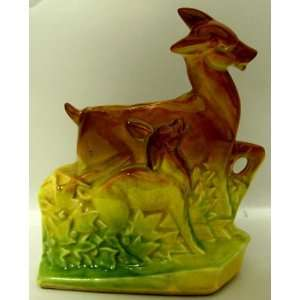 Rare. Yellow/Brown/Green Deer with Fawn McCoy Planter