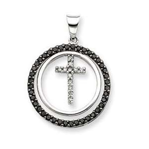 14k White Gold Black & White Diamond Cross Pendant Jewelry