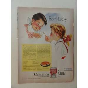 Carnation Milk. 1945 full page print advertisement. (little boy and