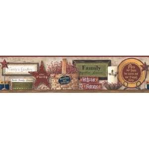Friends and Family Country Shelf Wallpaper Border: Home