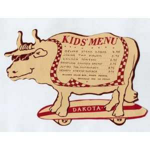 Dakota Steak House Kids Steer Shaped Menu Milford CT