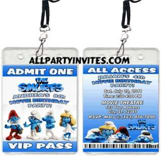 SMURFS MOVIE BIRTHDAY PARTY INVITATIONS FAVORS