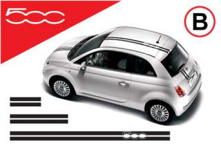 Fiat 500 racing stripes stickers decals B
