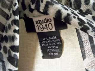 Studio 1940 Black & White Sheer Lined Blouse Sz XL
